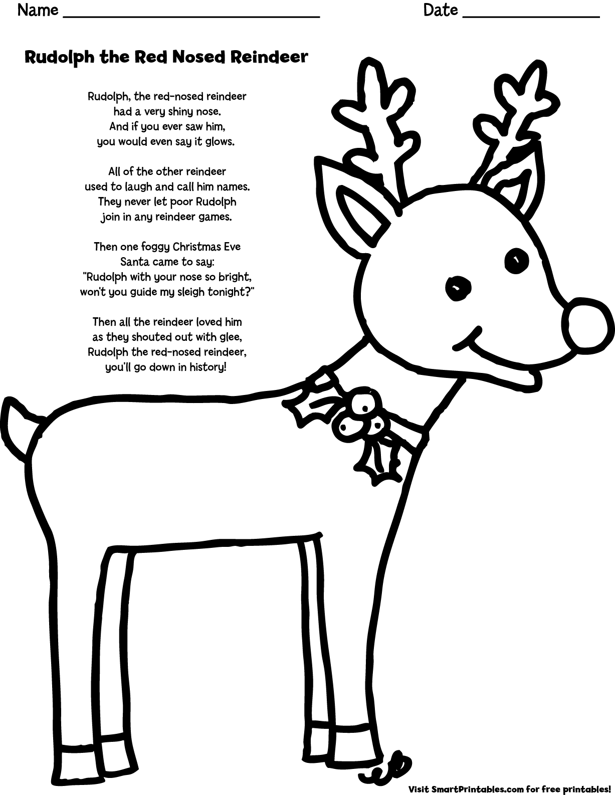 image relating to Rudolph the Red Nosed Reindeer Lyrics Printable known as rudolph the purple nosed reindeer lyrics Carol Brookes Good