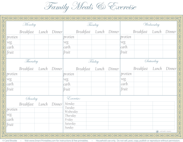 Meals and Exercise Charts | Smart Printables