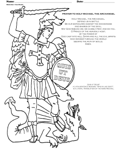 Archangel michael prayer and coloring page smart printables for Archangel michael coloring page