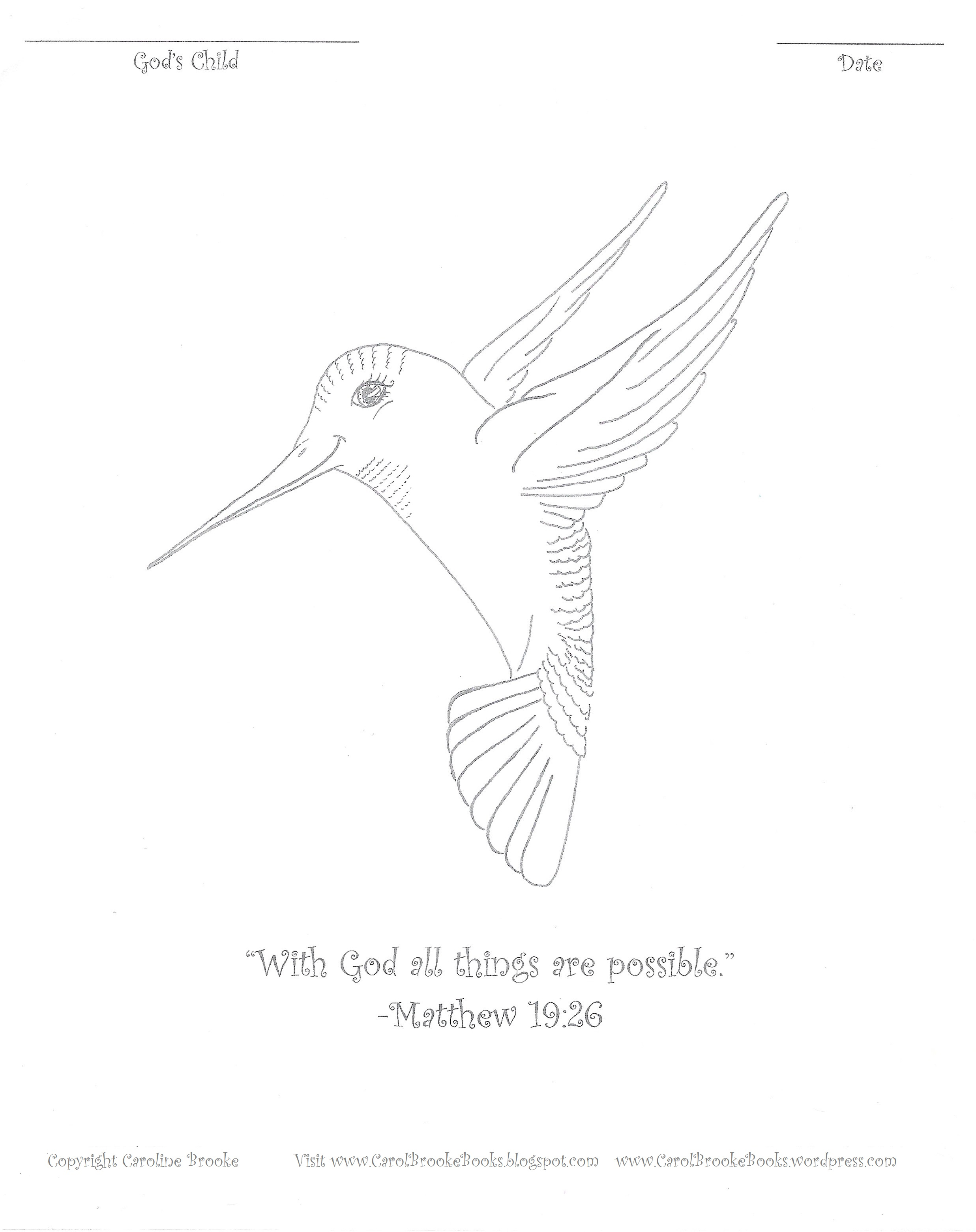 Coloring pages of spring things - Here Is A Free Hummingbird Coloring Page